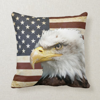 Vintage US USA Flag with American Eagle Cushion