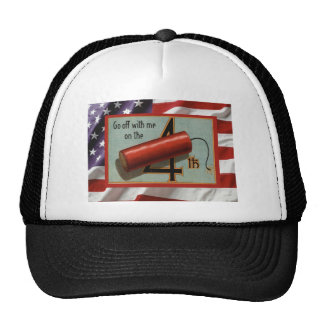 Vintage USA, 4th July, firecrackers Mesh Hats