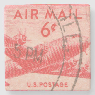 Vintage USA Air Mail Postage Stamp Stone Coaster