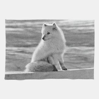 Vintage USA Alaska Arctic fox 1970 Tea Towel