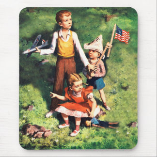 Vintage USA America Patriot Kids from WW2 Mouse Pad
