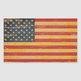 Vintage USA American Flag Rectangle Stickers