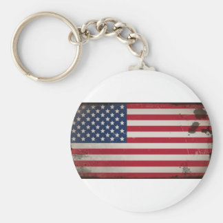 Vintage USA Flag Basic Round Button Key Ring