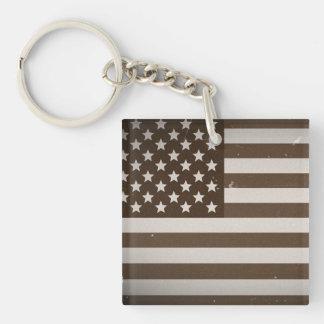 Vintage USA Flag Square Acrylic Keychain