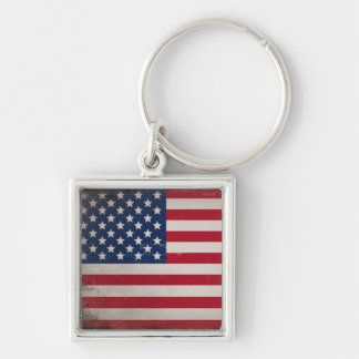Vintage USA Flag Silver-Colored Square Key Ring