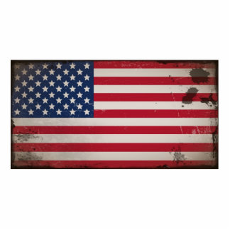 Vintage USA Flag Standing Photo Sculpture