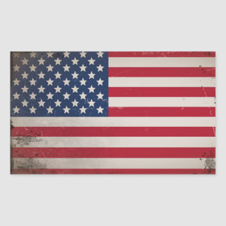 Vintage USA Flag Rectangular Sticker