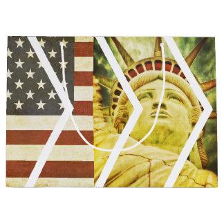 Vintage USA Flag Statue of Liberty Chevrons Large Gift Bag