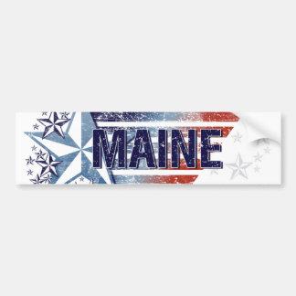 Vintage USA Flag with Star – Maine Bumper Sticker