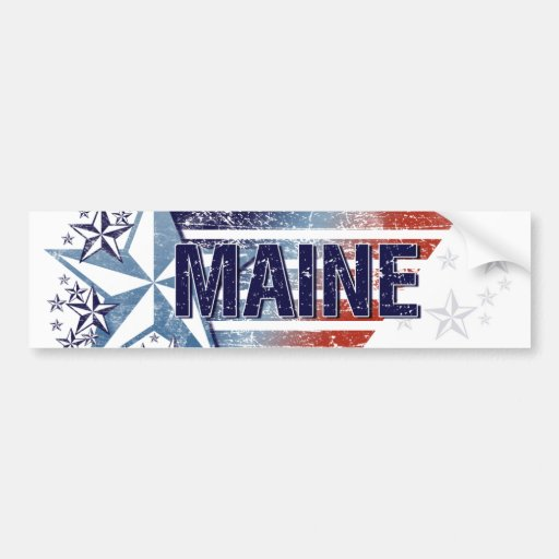 Vintage USA Flag with Star – Maine Bumper Sticker