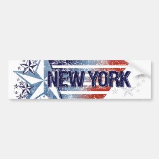 Vintage USA Flag with Star – New York Bumper Sticker