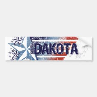 Vintage USA Flag with Star – South Dakota Bumper Sticker
