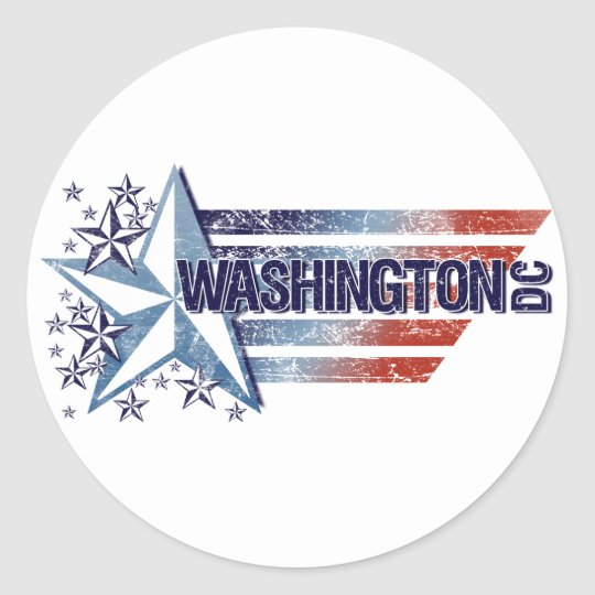 Vintage USA Flag with Star – Washington D.C. Classic Round Sticker