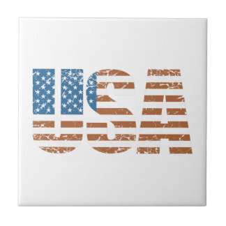 Vintage USA Letters with The American Flag Small Square Tile