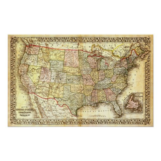 Vintage USA Map Poster | Zazzle.co.uk