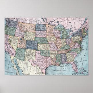 Vintage USA Map Poster