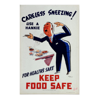 Vintage Use a Hankie Sneezing Health Food Safety Poster