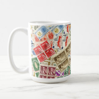 Vintage Used Stamps Coffee Mug