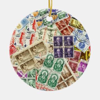 Vintage Used Stamps Round Ceramic Decoration
