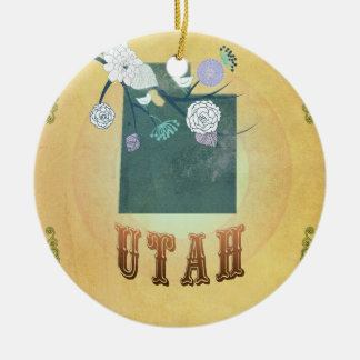 Vintage Utah State Map- Passion Fruit Yellow Round Ceramic Decoration