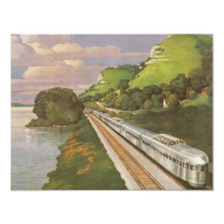 Vintage Vacation by Train, Locomotive in Country Card