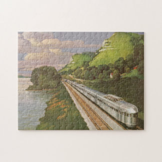 Vintage Vacation by Train, Locomotive in Country Jigsaw Puzzle
