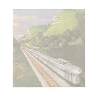 Vintage Vacation by Train, Locomotive in Country Notepad