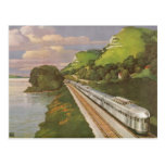 Vintage Vacation by Train, Locomotive in Country Postcards