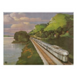 Vintage Vacation by Train, Locomotive in Country Poster