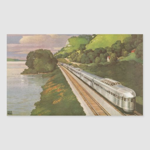Vintage Vacation by Train, Locomotive in Country Rectangular Sticker
