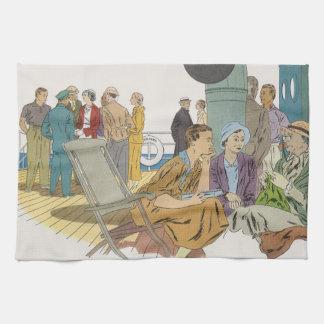 Vintage Vacation, Passengers Cruise Ship on Deck Tea Towel