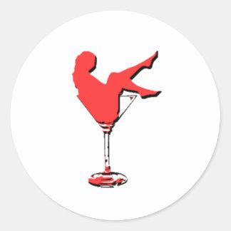Vintage Vagas Martini Girl Classic Round Sticker
