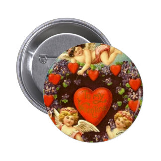 Vintage Valentine 3 Cupids And Red Hearts 6 Cm Round Badge