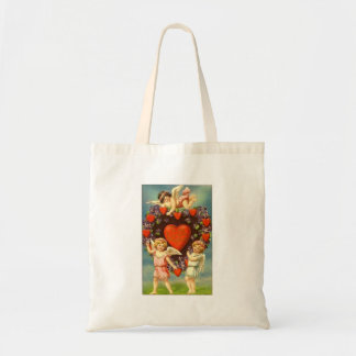 Vintage Valentine 3 Cupids And Red Hearts Canvas Bag