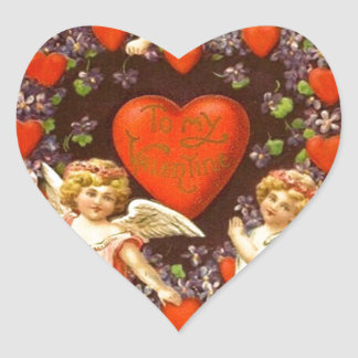 Vintage Valentine 3 Cupids And Red Hearts Heart Sticker