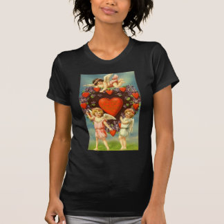 Vintage Valentine 3 Cupids And Red Hearts T-Shirt