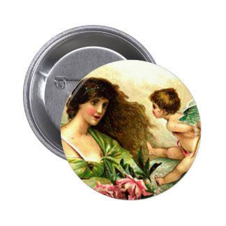 Vintage Valentine Aphrodite And Cupid 6 Cm Round Badge