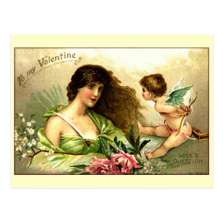 Vintage Valentine Aphrodite And Cupid Postcard