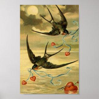 Vintage Valentine Barn Swallows Poster