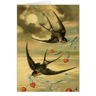 Vintage Valentine Barn Swallows With Hearts Card