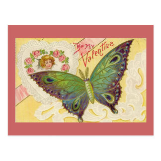 Vintage Valentine Butterfly Postcard