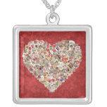 Vintage Valentine Card Heart Collage on Red Pendants