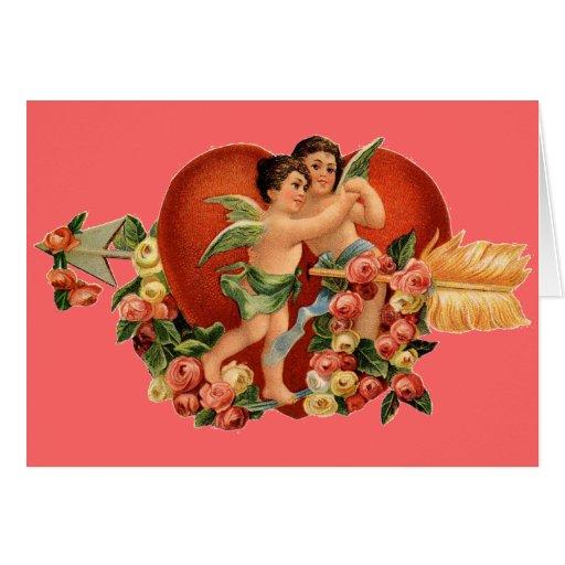 Vintage Valentine Cherubs Greeting Card