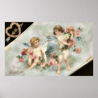 Vintage Valentine Cherubs Poster