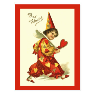 Vintage Valentine Clown Postcard