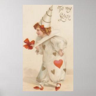 Vintage Valentine Clown Poster