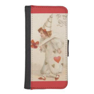 Vintage Valentine Clown Wallet Case