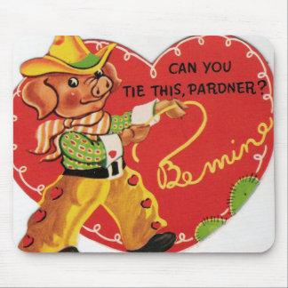 Vintage Valentine Cowboy Hog Mouse Pad