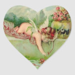 Vintage Valentine Cupid Heart Stickers