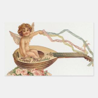 Vintage Valentine Cupid Loves Melodies Rectangular Sticker